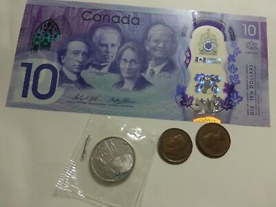 Canadian $10 Dollar Bank Note Polymer Bill + coins from Canada