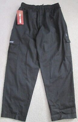 NWT Chef Works Men's Cargo Style Chef Pants - Black - Size L