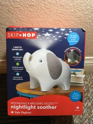 New! Skip Hop Moonlight & Melodies Nightlight Soother Elephant Baby Nightlight
