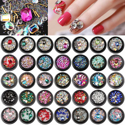Mix-Size 3D Nail Art Decoration Nail Rhinestones Beads Sharp Bottom Manicure DIY