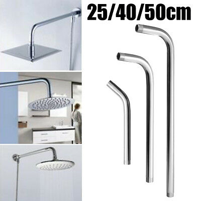25/40/50cm Chrome Wall Mounted Shower Extension Pipe Arm For Rain Shower  Head