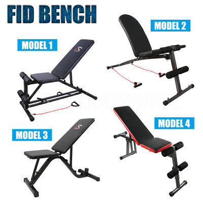 Adjustable Weight FID Bench Flat Incline Decline Press Home Gym Exercise Situp