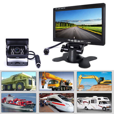 "12V-24V Bus Truck IR Rear View Backup Camera +7"" Color TFT LCD Car Monitor Kit"