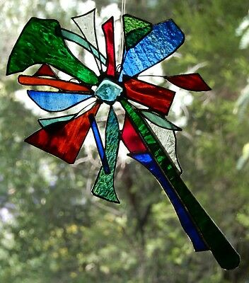 ' TWISTED GLASS ' Stained Glass ABSTRACT 3D SUNCATCHER Huge SUSPENDED LEADLIGHT