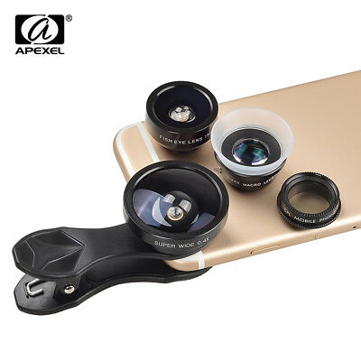 APEXEL Universal Clip 5 in 1 Camera Lens Kit for iPhone Samsung mobile phones