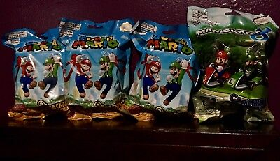 Lot of 4 Official Nintendo Super Mario/Kart Random Mystery Surprise Backpack Bud