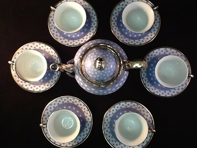 ‼️13pc Tea Sets Tea Pot W/ 6 Cups & Saucers & Rack Coffee Cup Set Blue w/Dots