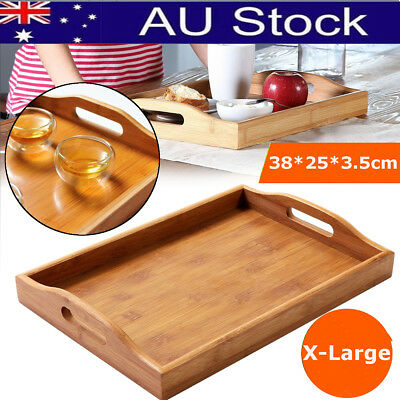 X-Large Bamboo Kung Fu Tea Food Serving Tray Wooden Fruit Rectangle Plate AU