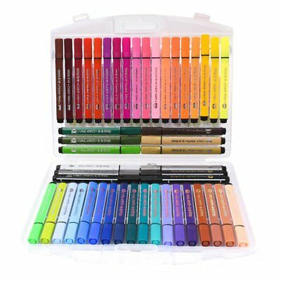 48 Colour Marker Pens Watercolour Art Graphic Drawing Sketch Fine Point Student