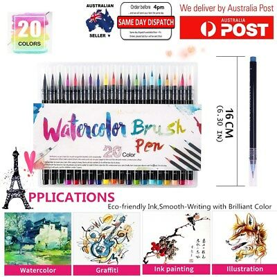 20-Color Painting Brush Soft Tip Refillable Watercolor Markers Calligraphy Pen