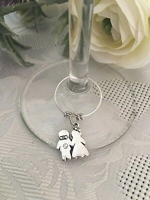 Bride And Groom  Wedding Glass Charm ... Great Forvthe Topbtable, Wedding Party