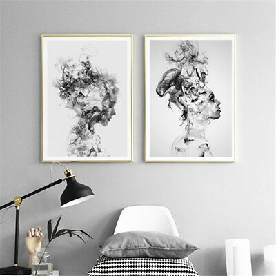 Abstract Black White Woman Canvas Art Print Painting Home Wall Decor Unframed