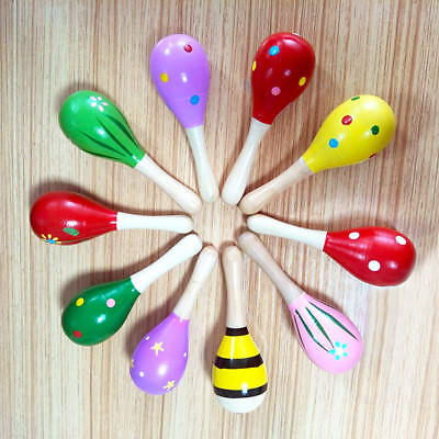 3/5/12PCS Wooden Cartoon Maraca Rattles Baby Children Musical Shaker Toy Party