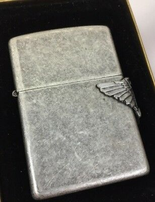 1994 Zippo Lighter Camel Cigarettes Antique Silver Plated Biker CZ 32 MIB