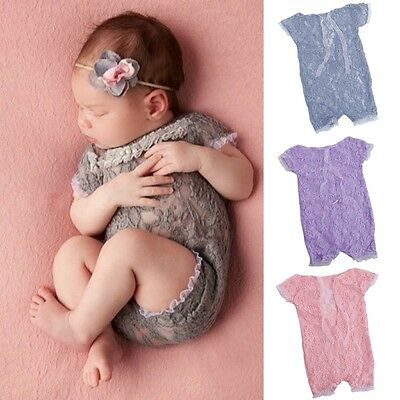 Newborn Baby Girls Bow Lace Rompers Flower Sunsuit Photography Props Jumpsuits
