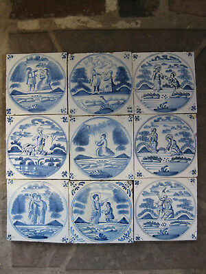 9 antique Dutch biblical tiles tile Province of Friesland 18th - free shipping