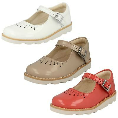 Clarks Girls Crown Jump Coral, Blush or White Patent Leather Smart Shoes