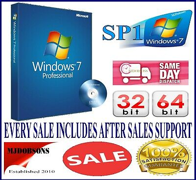 Windows 7 Professional 64 bit SP1 UK Version & License COA Product Key Pro DVD