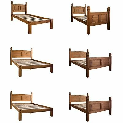 Corona Single Double King Bed High Low Foot End Solid Pine Wood Bedroom
