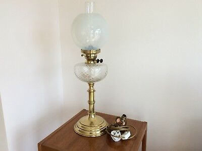 Very Tall and Heavy Brass duplex oil lamp.