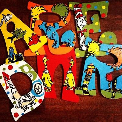 Dr Seuss Inspired Painted Wood Letters