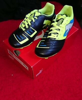 Puma Powercat 4 Fg Junior Black/white/yellow size 4uk football boots