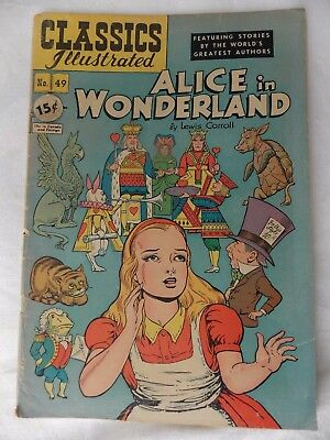 Classic Illustrated Alice in Wonderland No 49 15 Cents-No date listed