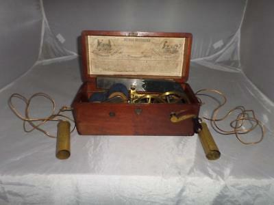 Antique Victorian Magneto-Electric Shock Machine in Wooden Box- 19th Century