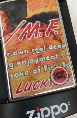 2004 Zippo Lighter Lucky Strike Cigarettes M.F. 2 Sided Street Chrome Case MIB