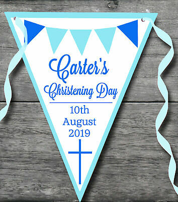Personalised Christening Day Bunting Blue Pink Boy Girl Baptism Decoration Party