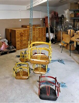 Chair metal Flying Seat chain carousel vintage 40s 50s industrial furniture R98