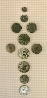 ⭐️Lot of 10 Antique RARE CARVED GREY MOP Mother of Pearl Buttons-Knitting Sewing