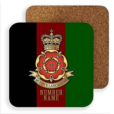 Personalised Queens Lancashire Reg Coaster Set British Army Dad Gift TRC35