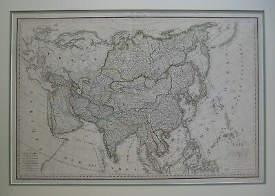 Original 1819 Lapie Map ASIA China Korea India Arabia Japan Philippines Mongolia