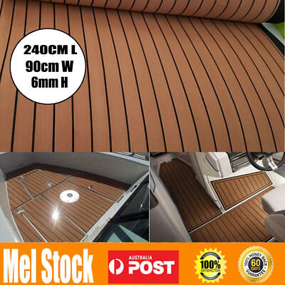 240cmx90cm Marine Flooring Faux Teak EVA Foam Boat Yacht Decking Sheet Brown AU