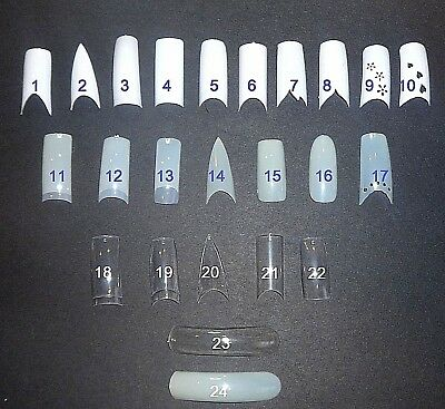 Manicure Nail Tips French White Clear Natural Gel Acrylic Stiletto C Curve Smile