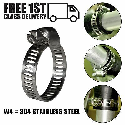 304 Stainless Steel Slotted Band Rubber Mini Hose Clamp Fuel Petrol Pipe Clip