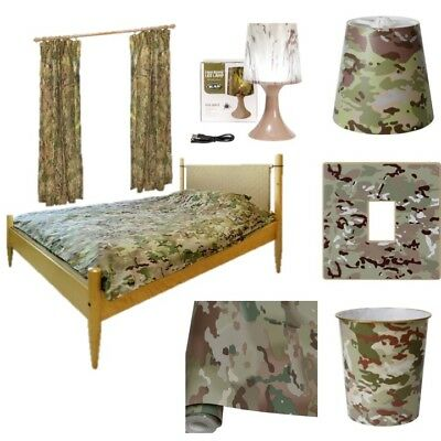 Clearance! Boys Army Camo Bedroom Wallpaper Curtains Duvet Lamp Bin Light Shade