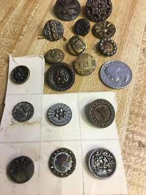 Lot of 17 Antique Victorian Picture Buttons Metal Brass Steel