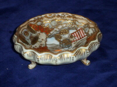 Small 19th C Japanese Satsuma Porcelain 3 Footed Bowl - Signed