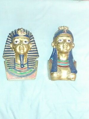 """Pair of 12"""" Classic Egyptian Sculpture Statue Golden Busts"""
