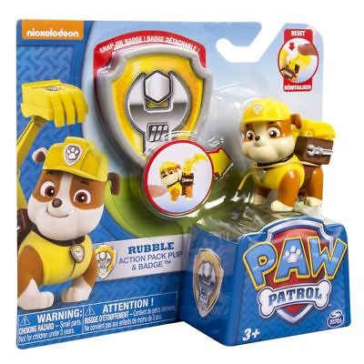 Paw Patrol Pup and Badge - Rubble Authentic Brand New