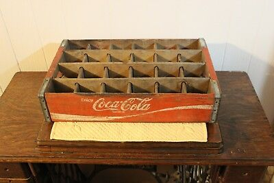 Vintage Coca Cola Red Wooden Crate 24 Slot, GUC