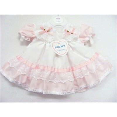 Baby Girls Traditional Romany Pink/White Sparkle Ribbon & Lace Frilly Dress