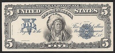Proof Print by the BEP - Face of  1899 $5 Silver Certificate - Indian Chief