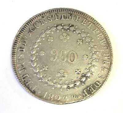 1824 BRAZIL 960 REIS silver - Struck Over Spanish Colonial 8 Reales(!) - Rare