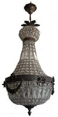 Bronze Antique Patina Basket Brass French Empire Crystal Ceiling Lamp Chandelier