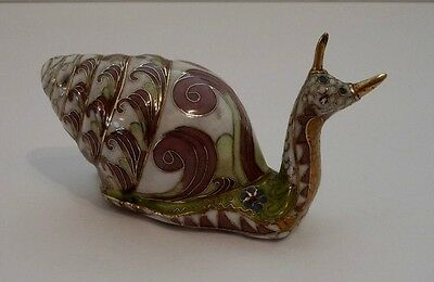 "Vtg Cloisonne Snail/ Franklin Mint House of Faberge ""The Imperial Garden Snail"""