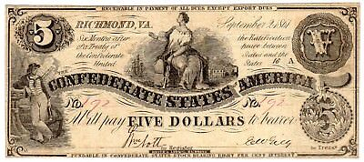 T-36 PF-1 $5 Confederate Paper Money 1861 - Hoyer & Ludwig!