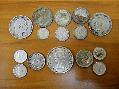 Great Britain 1933 Half Crown Canada Silver Coin Lot Of 15 Coins